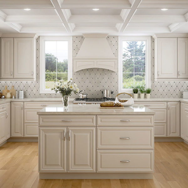 Open White Kitchen with Island