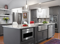 Grey cabinets on modern kitchen island, available at Chix Cabinets Direct!
