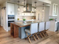kitchen with island and wood furnishings