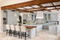 OPen Kitchen with Wood Beams